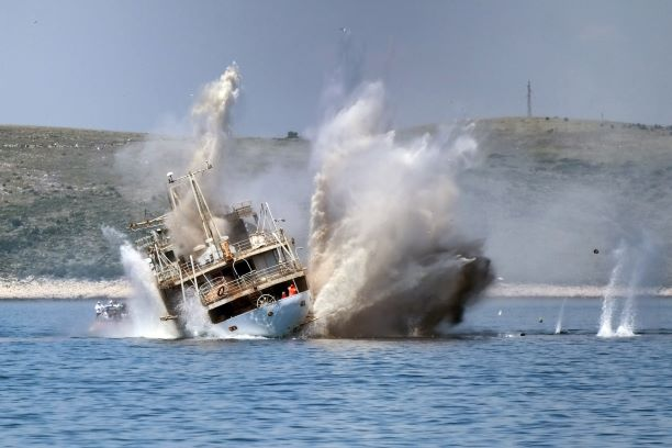 Boat crash with large boat - boating accident